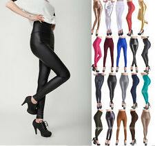 hot Sexy Women's Skinny Faux Leather Leggings Pants High Waist Trousers