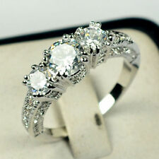 Jewelry Wedding Ring Size 6/7/8/9/10 White Sapphire Lady's 10K White Gold Filled