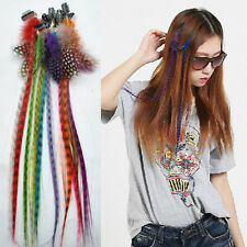 wholesale Lot Synthetic Grizzly Colorized Feather Clip In Hair Extensions KP52