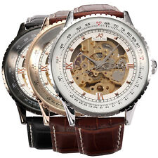 Luxury KS Royal Carving Mens Skeleton Leather Automatic Mechanical Sport Watch