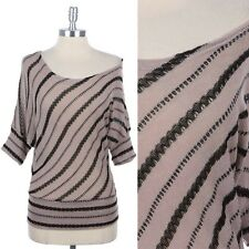 Off Shoulder Striped Knit Batwing Dolman Top Half Sleeve Casual Rayon Span S M L