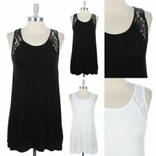 Solid Plain Sleeveless Back Floral Lace Tank Top Easy Wear Casual Span S M L