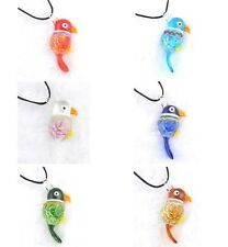 NEW JT12 Graceful bird Murano glass lampwork beaded pendant necklace Parrot p863