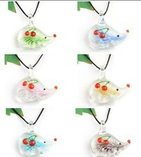 lady Hedgehog p866 handmade lampwork glass charm beaded pendant necklace