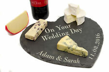 Personalised Large Slate Heart Cheese Board, Laser Engraved Wedding Gift