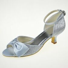 New Ivory White Satin Lace Bridal Womens Low High Heels Flats Wedding Shoes W049