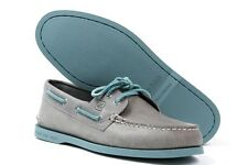 SPERRY TOP SIDER A/O 2-EYE LEATHER GRAY/TURQUOISE NEW IN BOX