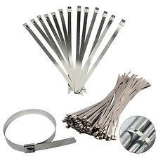 Stainless Steel Metal Cable Ties Zip Wrap Exhaust Heat Straps Marine Grade