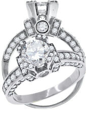 Ladies Sterling Silver Horse Shoe Solitaire Lab Diamond Ring in White Finish