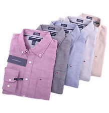 Tommy Hilfiger Men Long Sleeve Button Down Solid Custom fit Casual Shirt $0 Ship