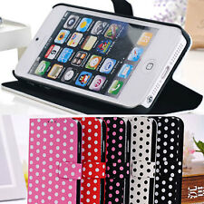 Romance Dot Spot Round Paris Card Stand PU ZYK Case Cover Skin for iPhone 5C