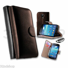 WALLET REAL GENUINE LEATHER CASE COVER FOR SAMSUNG GALAXY S3 S4 I9500 MINI I9300