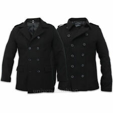 Mens Military Coat Wool Mix Double Breasted Epaulette Lined Casual Winter Jacket