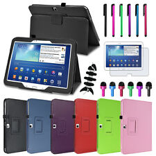 """Auto On/Off Folio Leather Case Cover for Samsung Galaxy Tab 3 10.1""""+Accessories"""
