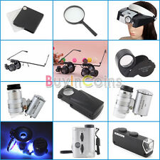 5x 10x 20x 40x 45x 60x LED Light Folding Magnifier Glass Headband Jewelry Loupe