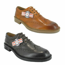 Lambretta Mens Smart Leather Lace Up Brogues Shoes Sizes 7 to 12 Dk Brown / Tan