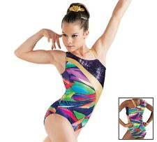 NEW Gabby Berry Purple Rainbow Slash Foil Asymmetrical Dance Gymnastics Leotard