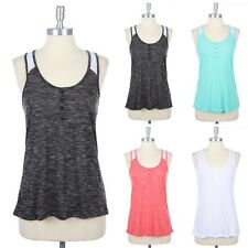 Lace Inset Racerback Tank Top Sleeveless Button Detail Front S M L