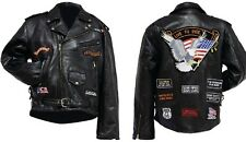 Rock Design Genuine Leather Motorcycle Jacket Coat w/ 14 PATCHES and Pockets NEW
