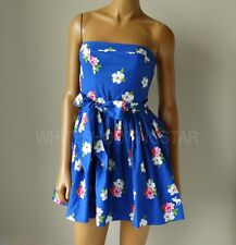 NWT ABERCROMBIE & FITCH ANF WOMENS Blue Strapless Annabel Floral Dress S,M,L