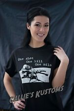 ARMY SNIPER T-SHIRT USMC ONE SHOT ONE KILL ONE MILE black men's S-3X cotton