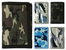 Mens Boys CAMOUFLAGE Velcro Wallet Canvas TriFold CAMO Slim NEW Teens VALUE