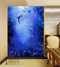 Large Dolphin World Wall Paper Wall Print Decal Wall Deco Indoor wall Mural Home