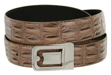 Mens Leather Dress Belt, Dark Taupe Crocodile with Nickel Plated Channel Buckle
