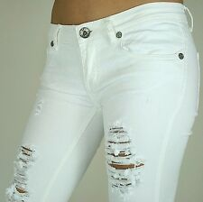 NEW MACHINE JEANS RIPPED DISTRESSED DESTROYED WOMEN WHITE SKINNY SLIM FIT