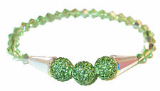 CLEAR AB & PERIDOT GREEN Crystal Bracelet Stretch Disco Ball Swarovski Elements