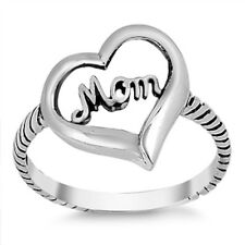 BEAUTIFUL GIFT! MOM HEART .925 Sterling Silver Ring SIZES 5-9