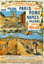 TX125 Vintage Paris Rome Naples Palerme Express Railway Travel Poster A2/A3/A4