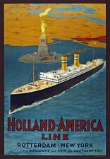 TW74 Vintage Holland America Line Cruise Ship Travel Poster Re-Print A1/A2/A3/A4
