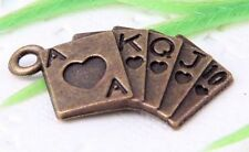Wholesale 24/56Pcs Bronze Plated(Lead-Free)Playing Card Charms Pendants 23x12mm