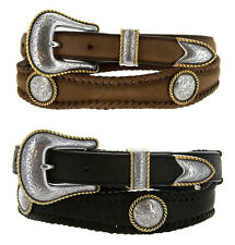 "Gold Rope Edge with Conchos Leather Western Belt 1-3/8"" to 1"" Wide, Black Brown"