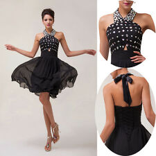 2014 Beaded Formal Evening Short Gown Party Prom Ball Bridesmaid Dresses BLACK