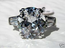 5 Carat Cubic Zirconia Engagement Ring Oval w/Baguettes Sterling Silver .925