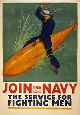 W54 Vintage WWI Join The Navy US  War Poster Re-Print WW1 A1/A2/A3/A4