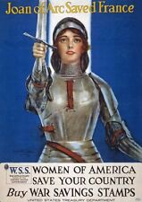WA85 Vintage WWI Joan Of Arc US War Savings Stamps Poster WW1 A1/A2/A3/A4