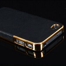 Frame Luxury Leather Chrome Hard Back Phone Case Cover For iPhone 6 Plus 4S 5S