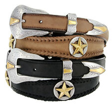 "Western Gold Star Badge Genuine Leather Belt 1-1/8"" Wide, Black Brown"