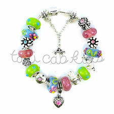 European Charm Bracelet Sweet Heart Pink & Green Murano glass beads Mothers Day