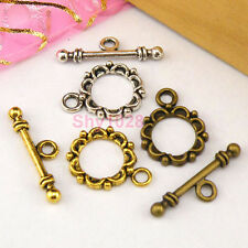 20Sets Tibetan Silver,Antiqued Gold,Bronze Flower Connector Toggle Clasps M1391