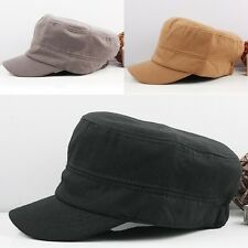 Men's Plain Cadet Army Military Style Castro Visor Cap Box Hat Black/Brown/Grey
