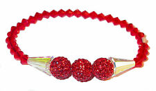 CLEAR AB & RED Crystal Bracelet Stretch Artemis Disco Ball Swarovski Elements