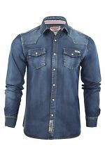 Tokyo Laundry Mens Denim Shirt Mid Wash 'Keitel' Long Sleeved