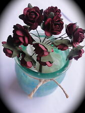 Mulberry Paper Flowers 12 OPEN ROSES Wire Stems 1.6cm (16mm) Cardmaking  Crafts