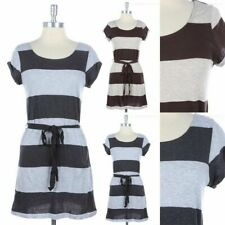 Striped Short Sleeve Scoop Neck Belted Tunic Dress Casual Cotton Easy Wear S M L