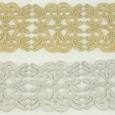 Metallic Embroidered Venise Lace Trim #284 - Bridal Wedding Veil Lace Trim