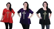 New Plus Size Hanky Hem Studded Cross 3/4 Sleeve Long Tunic Top Ladies Sizes 14